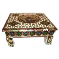 Meenakari Bajot Stool, Golden Handcrafted Table (Chowki) W/ Carving