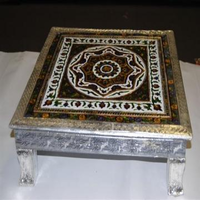 Meenakari Bajot Stool, Silver Handcrafted Table (Chowki) W/ Carving