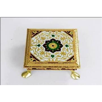 Traditional Meenakari Floral Golden Chowki / Small Bajot