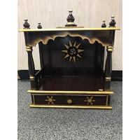 Traditional Small Wooden Open Mandir In Dark Brown & Gold - 10