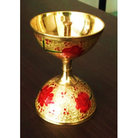 Golden Brass Traditional Meenakari Akhand Jyot / Akhand Diya