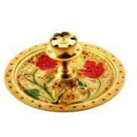 Golden Brass Traditional Meenakari Agabarti (Incense Stick) Stand