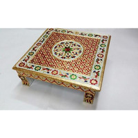 Golden Traditional Meenakari Carving Work Square Bajot