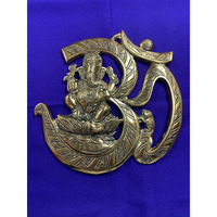 Brass Made Antique Wall Hanging Decor of Om Symbol W/ Ganeshji