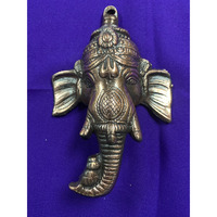 Brass Made Antique Wall Hanging Decor of Ganeshji's Face