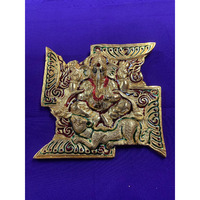Brass Made Antique Wall Hanging Decor of Ganeshji on Swastik