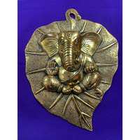 Brass Made Antique Wall Hanging Decor of Betal Leaf W/Ganeshji's