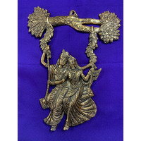 Brass Made Antique Wall Hanging Decor of Radha Krishn