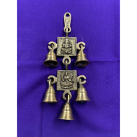 Brass Made Antique Wall Hanging Decor of Lakshmiji And Ganeshji With Bells