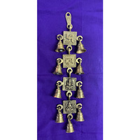 Brass Antique Wall Hanging Decor of Swastik, Shubh, Lakshmiji And Ganeshji With Bells