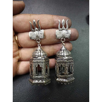 Beautiful Traditional Oxidized Earring W/Temple Carving