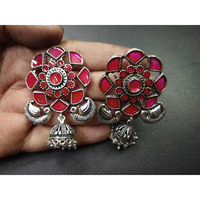 Beautiful Traditional Earring in Oxidized with Pink Flower Stone