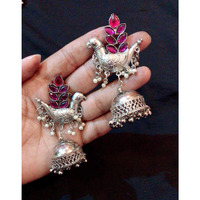 Beautiful Traditional Earring in Oxidized with Pink Stone