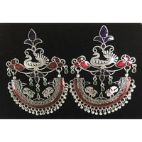 Antique Style Peacock Design Earring with Maroon, Red, Green Stones
