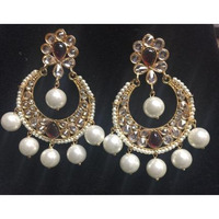 Beautiful Golden Earring with Red/White Stones and Big Pearls