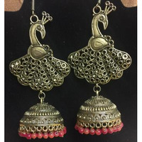 Anitque Peacock Style Earring With Pink Bids