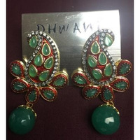 Traditional Green Color Semi Precious Stones & Pearl Earring