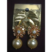 Semi Precious Colored Stones & Pearl Work Earring