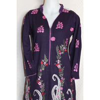 Blouse 2129 Kurti Tunic Top Purple Winter Wear