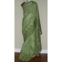 Saree 1687 Green Cotton Lucknavi Lawn Designer Party Wear Sari Shieno Sarees