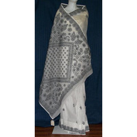 Saree 1689 White Cotton Lucknavi Sari Shieno Sarees