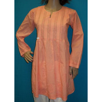 Blouse 1633 Orange Cotton Long Sleeves Tunic Top Kurti Medium Size Shirt Shieno