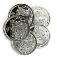 Ganesha Lakshmi/Laxmi Pure Silver (999) 5 Gram Coin (Set of Five Coin)