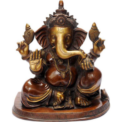 Antique religious dicor brass elephant lord ganesha statue hinduism figure 15