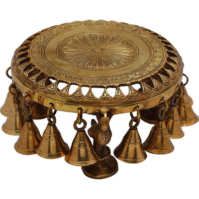 Antique Brass  Hindu Spiritual religious temple puja Chowki with bells 4