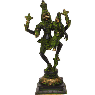 Brass Hindu god hand crafted lord Narsingh Antique statue idol 13
