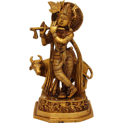 Antique statue Lord Krishna hindu god deity with cow pooja religious dicor 10
