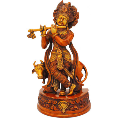 Antique statue Lord Krishna hindu god deity with cow pooja religious dicor 13
