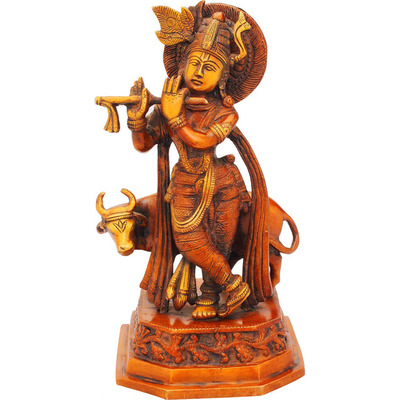 Brass Statue of Lord Krishna hindu god deity with cow pooja religious dicor 10