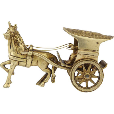 Antique Brass home room table dicor single horse cart showpiece gift set item 6
