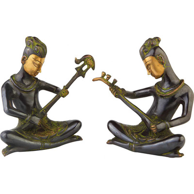 Anitque brass musical band 2 pcs showpiece home table dicor statue gift set 9