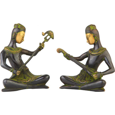 Anitque brass musical band 2 pcs showpiece home table dicor statue gift set 6