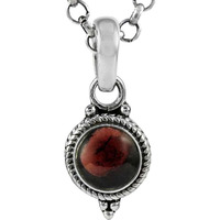 New Faceted! 925 Sterling Silver Garnet Charm Pendant