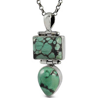 Big Amazing Turquoise Gemstone Silver Pendant Jewelry