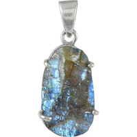 Quality Work !! Labradorite Rough Stone Sterling Silver Pendant Jewelry