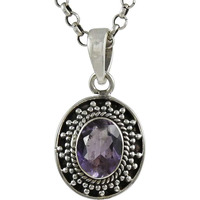 Classy Design ! 925 Sterling Silver Amethyst Pendant