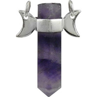Rava Work ! Amethyst Gemstone Silver Jewelry Pencil Pendant
