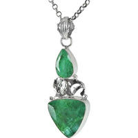 Breath of Love Emerald Gemstone Sterling Silver Pendant Jewelry