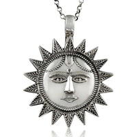 Antique Look 925 Sterling Silver Sun Pendant