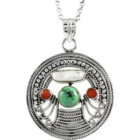 Spell !! 925 Sterling Silver Coral, Turquoise, South Sea Pearl Pendant