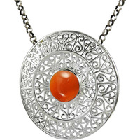 Rare Beauty Carnelian Gemstone Silver Pendant Jewelry