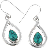 Big Natural!! 925 Silver Turquoise Earrings