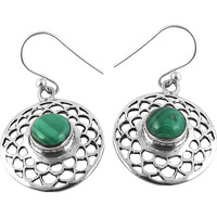A Secret !! Malachite 925 Sterling Silver Earrings