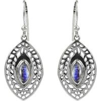 Huge Modern Style!! Rainbow Moonstone 925 Sterling Silver Earrings