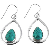 Large Stunning!! 925 Silver Turquoise Earrings