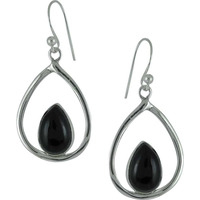 Exclusive!! 925 Silver Black Onyx Earrings